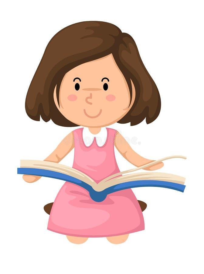 Ragazza che legge un vettore del libro royalty illustrazione gratis