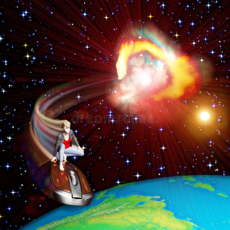 Ragazza che pratica il surfing l'universo illustrazione vettoriale