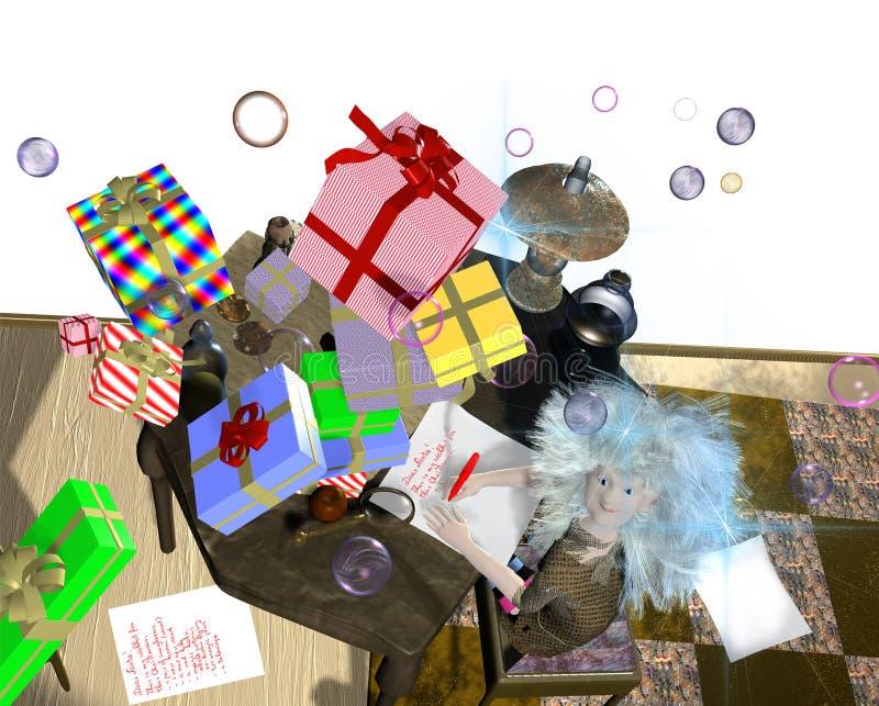 Ragazza che riceve i regali dal cielo royalty illustrazione gratis