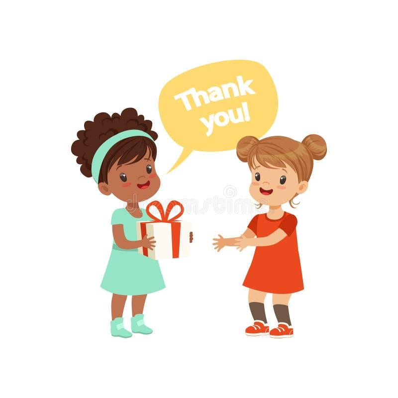 Ragazza che ringrazia un amico per un regalo, illustrazione di vettore di concetto di buoni modi dei bambini su un fondo bianco royalty illustrazione gratis