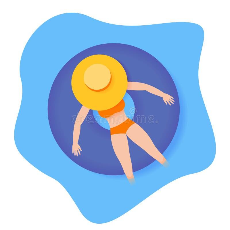 Ragazza che riposa sull'anello di gomma sulla piscina illustrazione di stock