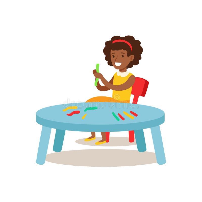 Ragazza che scolpisce mastice, le arti di pratica del bambino creativo in Art Class, i bambini e l'illustrazione di tema di creat illustrazione vettoriale