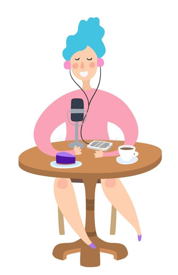 Ragazza che scrive podcast alla tavola della caffetteria con il telefono ed il microfono royalty illustrazione gratis