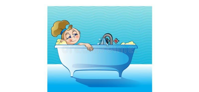 Ragazza che si rilassa nel bagno fotografie stock