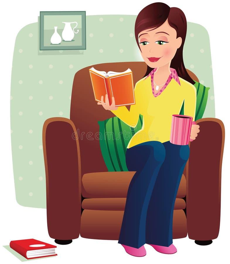Ragazza che si rilassa sulla sedia illustrazione vettoriale