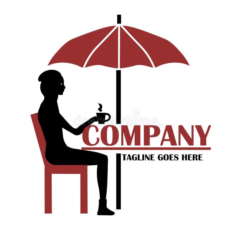 Ragazza che si siede al logo del caffè royalty illustrazione gratis