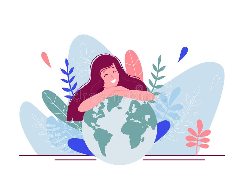 Ragazza che si siede e che abbraccia pianeta e che pensa al futuro di terra Illustrazione piana di vettore di concetto per la pag fotografia stock libera da diritti