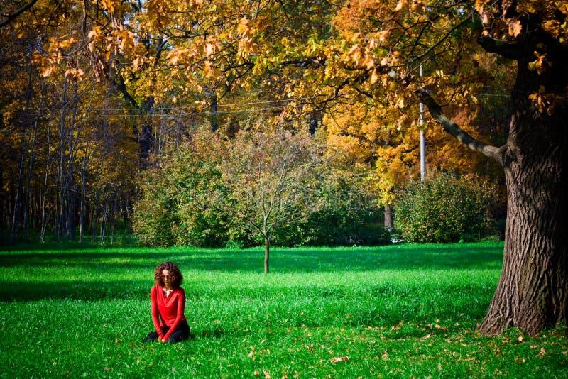 Ragazza che si siede nell'erba verde fotografia stock libera da diritti