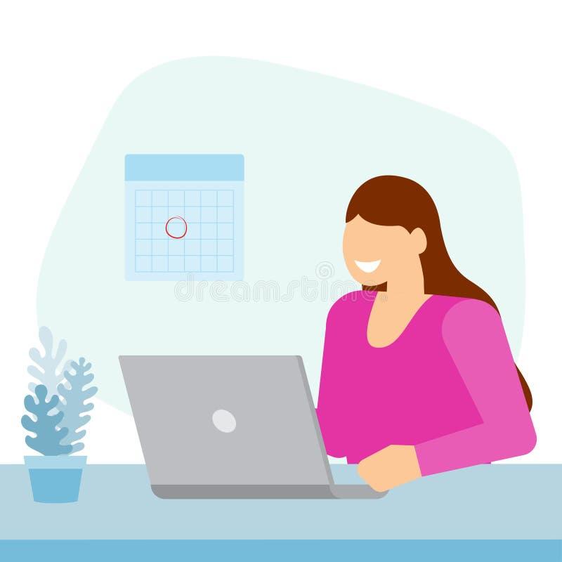 Ragazza che si siede nell'ufficio e che lavora al computer portatile royalty illustrazione gratis