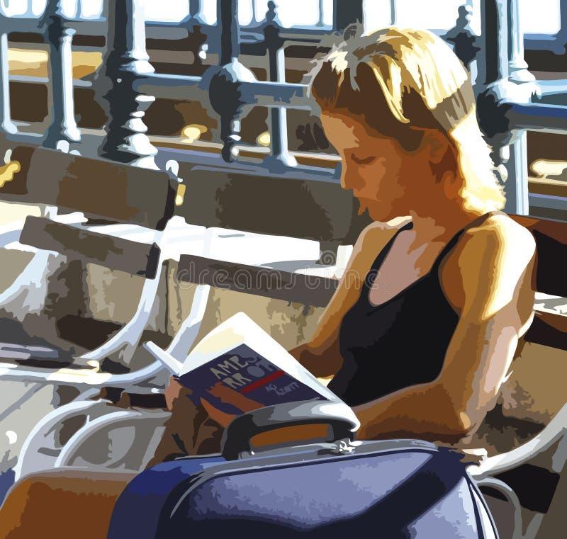 Ragazza che si siede sulla lettura del banco, disegno indicativo immagini stock