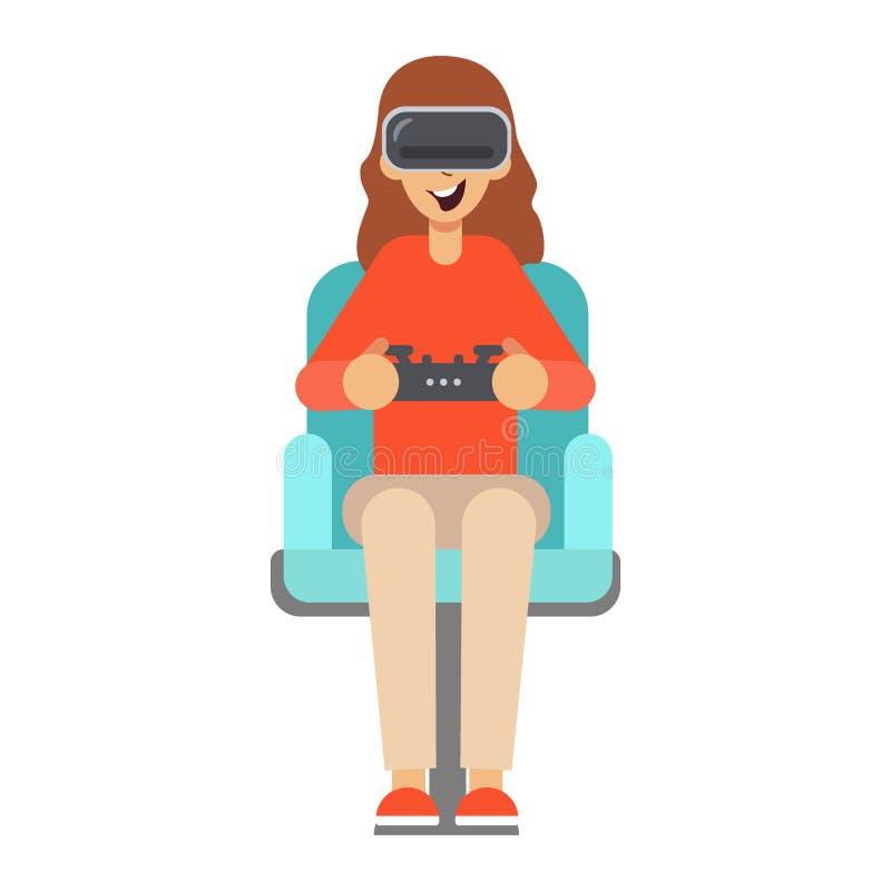 Ragazza che si siede in una poltrona e nei giochi illustrazione vettoriale