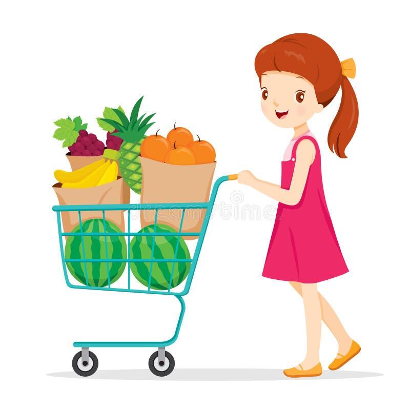Ragazza che spinge carrello con molti frutti illustrazione di stock