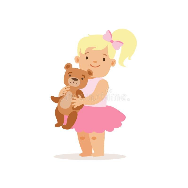 Ragazza che sta con Teddy Bear, personaggio dei cartoni animati sorridente adorabile di Blon del bambino ogni situazione di giorn royalty illustrazione gratis