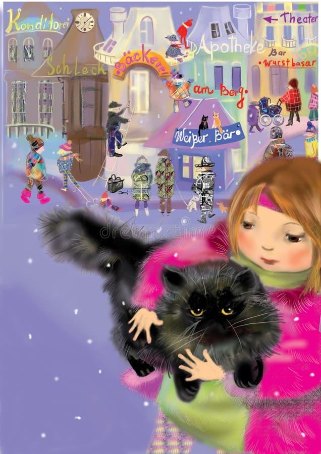 Ragazza che tiene un gatto persiano nero royalty illustrazione gratis