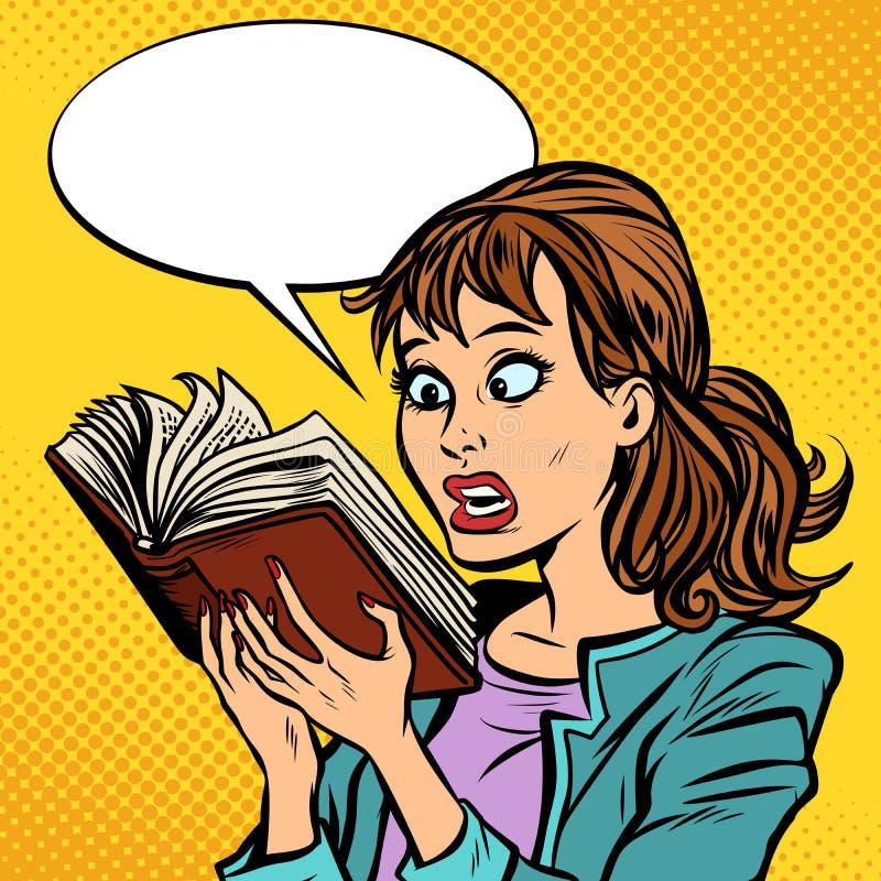Ragazza colpita che legge un libro illustrazione vettoriale