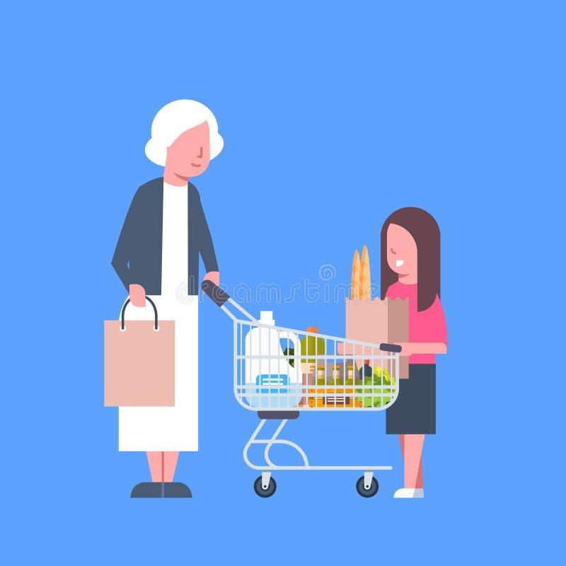 Ragazza con acquisto della nonna che giudica sacco di carta e carretto pieni dei prodotti della drogheria illustrazione di stock
