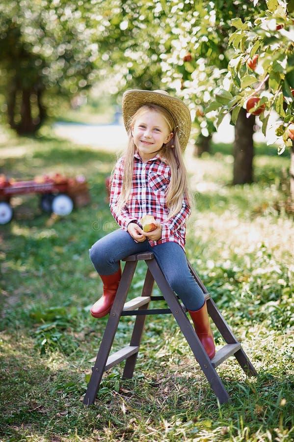 Ragazza con Apple nel meleto Bella ragazza che mangia Apple organico nel frutteto Concetto della raccolta Giardino, cibo del bamb fotografie stock