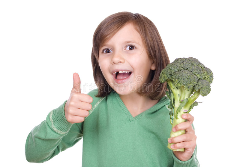 Ragazza con broccolo immagine stock