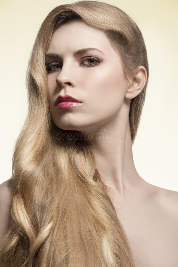 Ragazza con capelli lunghi serici fotografie stock