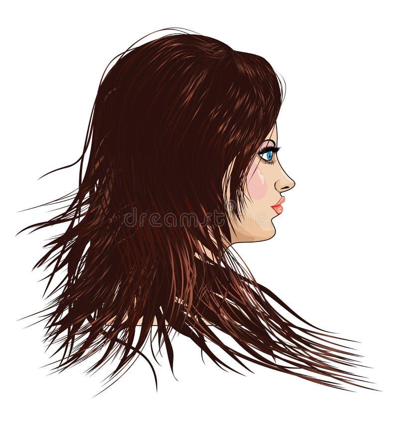 Ragazza con capelli marroni royalty illustrazione gratis