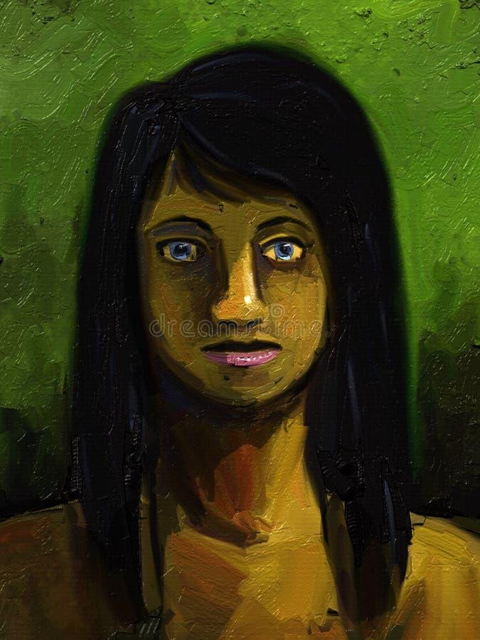 Ragazza con capelli neri lunghi - pittura di Digitahi royalty illustrazione gratis
