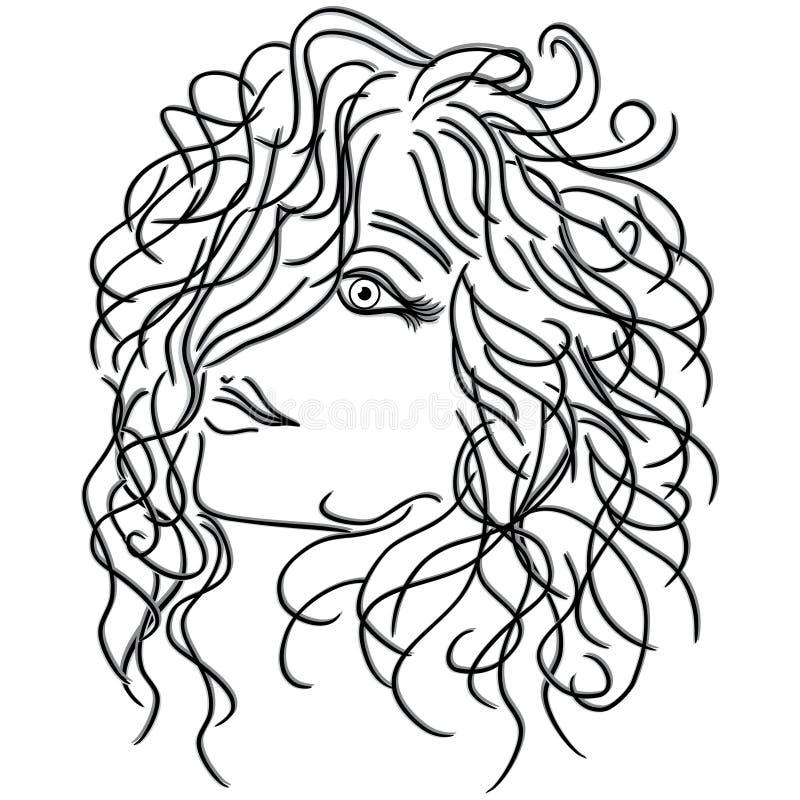 Ragazza con capelli ricci scorrenti illustrazione vettoriale