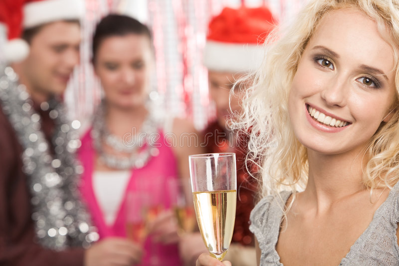 Ragazza con champagne immagini stock libere da diritti