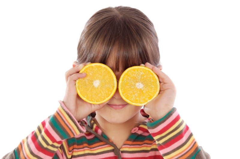 Ragazza con gli aranci immagini stock libere da diritti