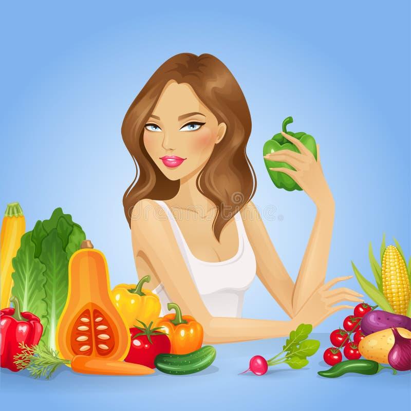 Ragazza con gli ortaggi freschi Illustrazione sana di vettore dell'alimento illustrazione vettoriale