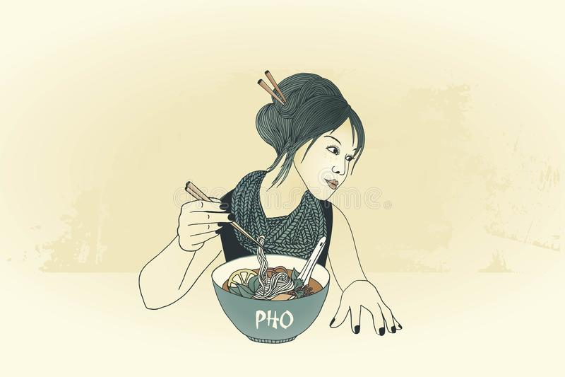 Ragazza con i bastoncini che mangia minestra di pasta illustrazione di stock