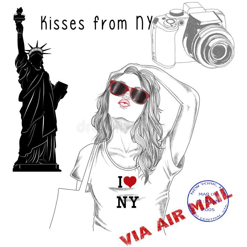 Ragazza con i bolli del fondo e della posta del monumento - New York royalty illustrazione gratis