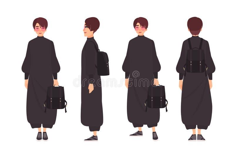 Ragazza con i capelli di scarsità e gli occhiali da sole che portano tuta alla moda e che tengono zaino Donna in attrezzatura d'a illustrazione di stock