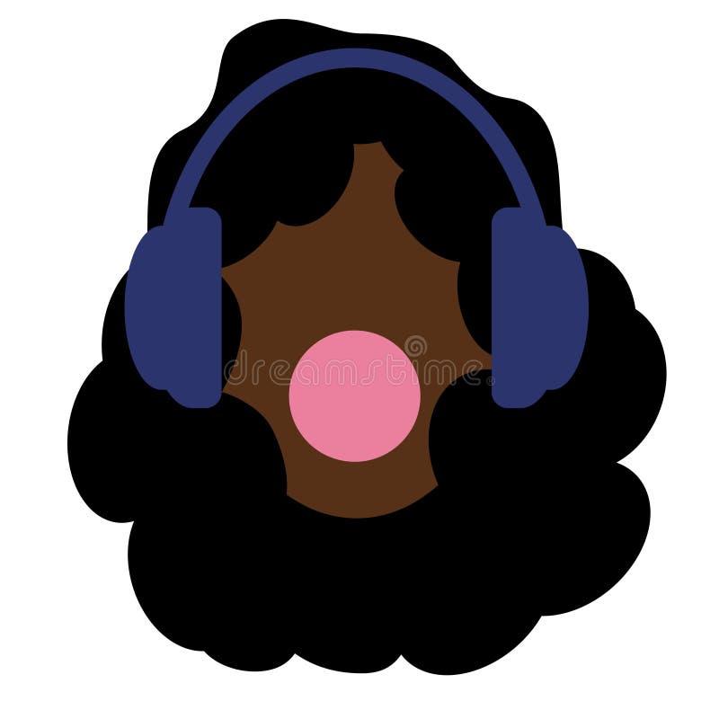 Ragazza con i capelli neri di afro Cuffie e musica I giovani e sfidano Gomma da masticare Priorità bassa bianca Donne afroamerica illustrazione vettoriale