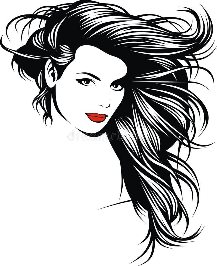 Ragazza con i capelli piacevoli dalla mia fantasia illustrazione vettoriale
