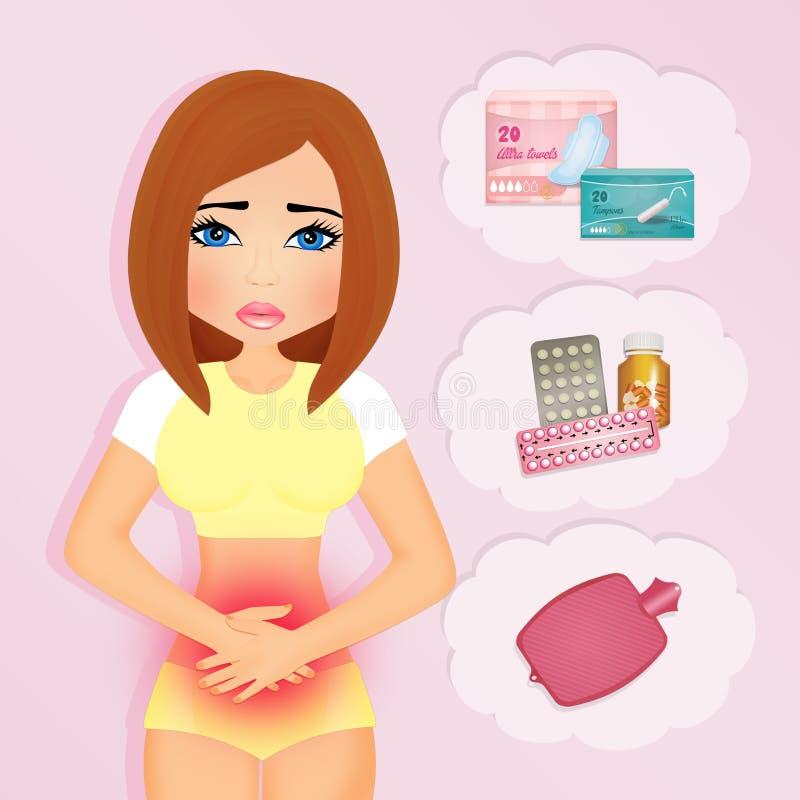 Ragazza con i dolori mestruali illustrazione di stock