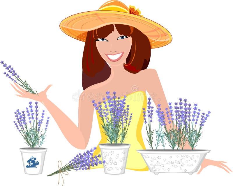 Ragazza con i fiori della lavanda illustrazione vettoriale