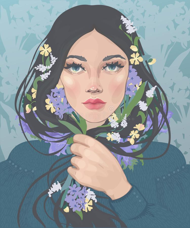 ragazza con i fiori lunghi della molla e dei capelli royalty illustrazione gratis
