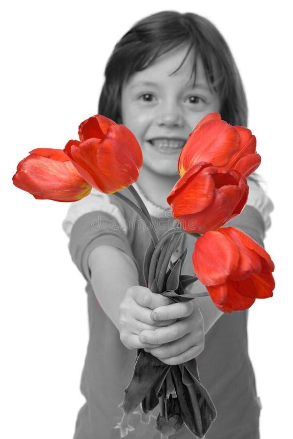 Ragazza con i tulipani fotografia stock libera da diritti