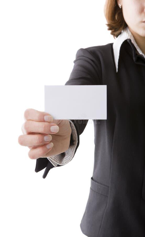 Ragazza con il biglietto da visita immagine stock libera da diritti
