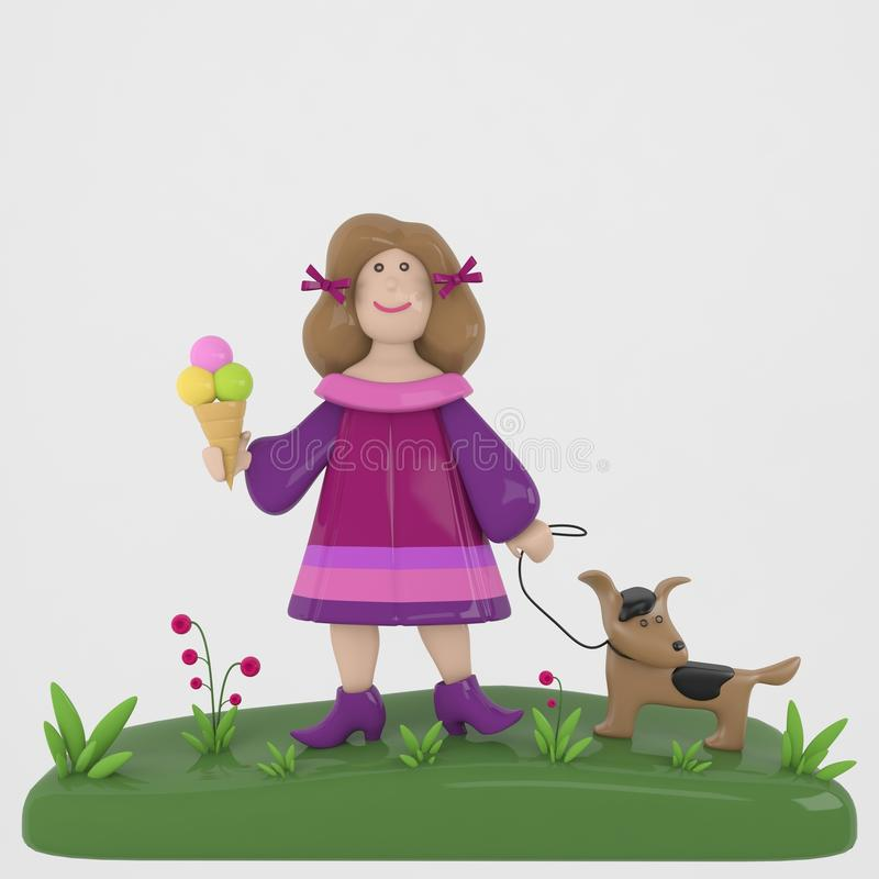 Ragazza con il cane ed il gelato immagini stock