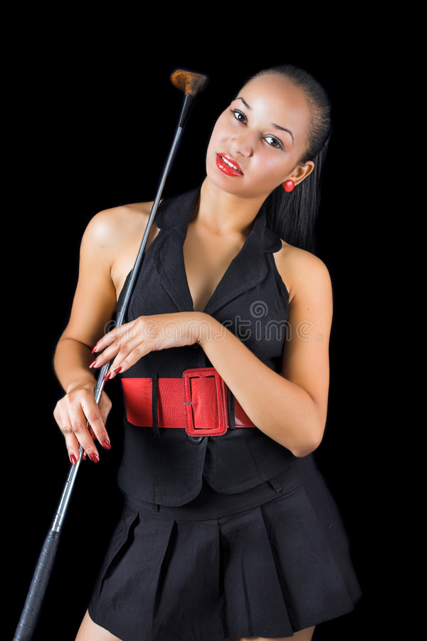 Ragazza con il club di golf fotografia stock