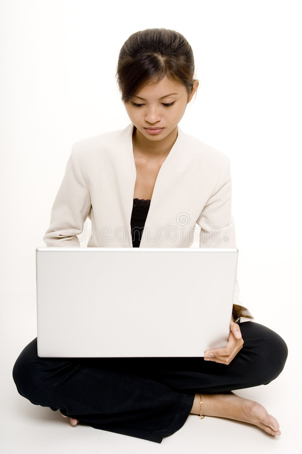 Ragazza con il computer portatile 8 immagine stock libera da diritti