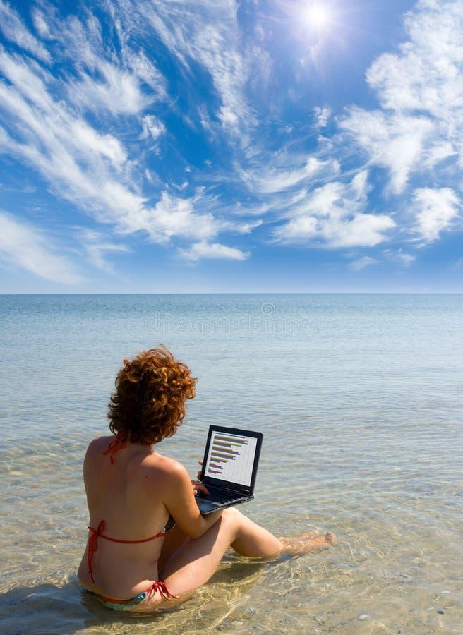 Ragazza con il computer portatile che si siede nel mare fotografie stock