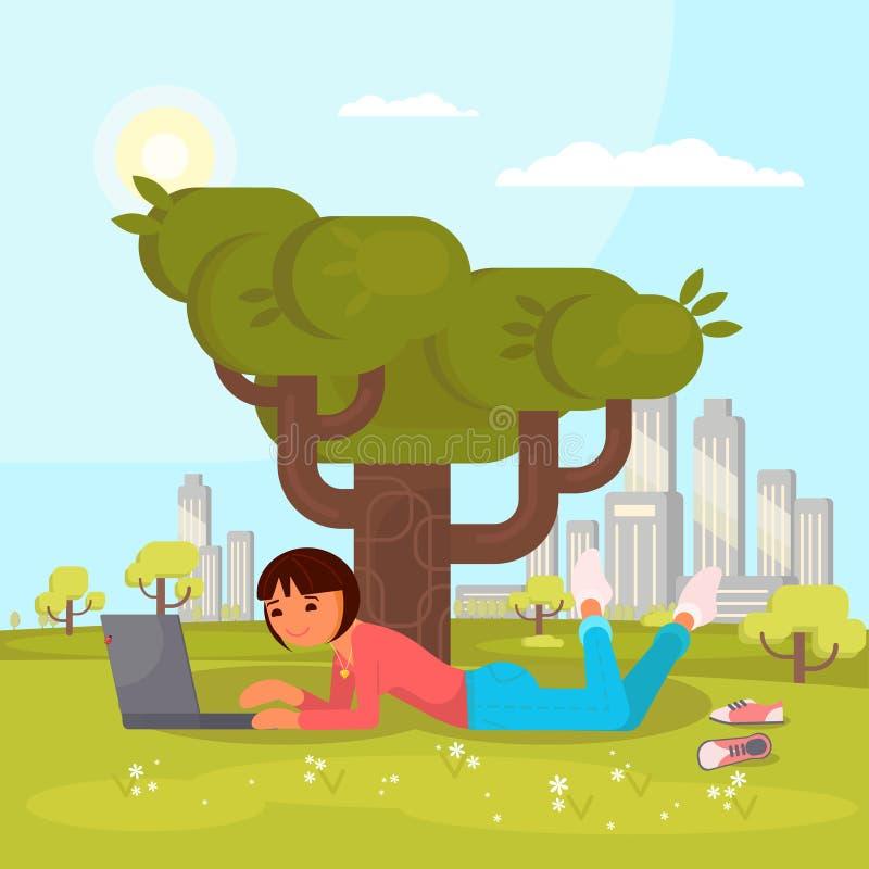 Ragazza con il computer portatile nell'illustrazione piana di vettore del parco illustrazione di stock