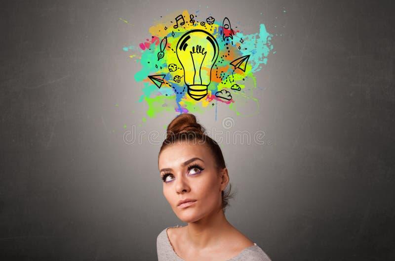 Ragazza con il concetto di pensiero di progettazione immagine stock libera da diritti