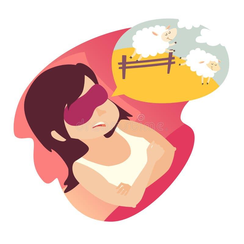 Ragazza con il conteggio delle pecore Sforzo, problema di sonno, concetto di insonnia Donna del fumetto nel Male Le pecore che sa royalty illustrazione gratis
