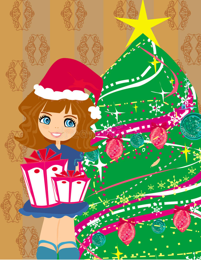 ragazza con il contenitore di regalo vicino dall'albero di Natale royalty illustrazione gratis