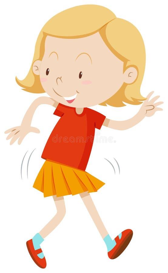 Ragazza con il dancing felice del fronte illustrazione vettoriale