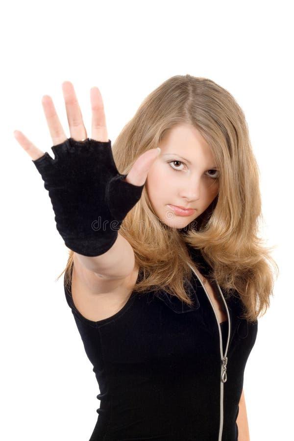 Ragazza con il fanale di arresto della mano fotografia stock