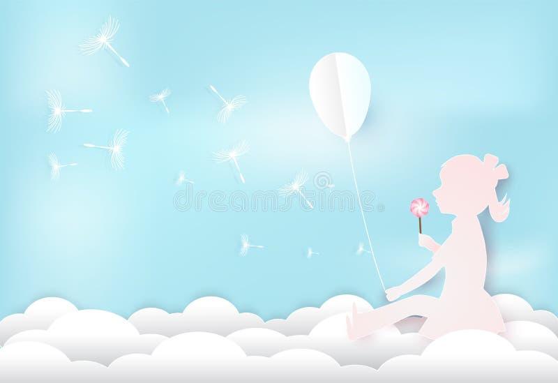 Ragazza con il galleggiamento floreale del dente di leone sulla nuvola e sul cielo blu illustrazione di stock